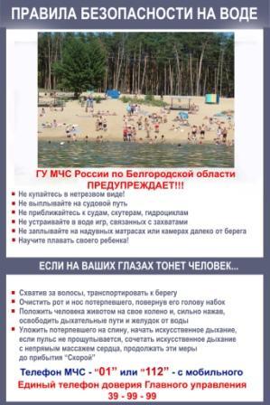 Правила поведения на воде - Плакаты и листовки - Главное управление МЧС России по Белгородской области