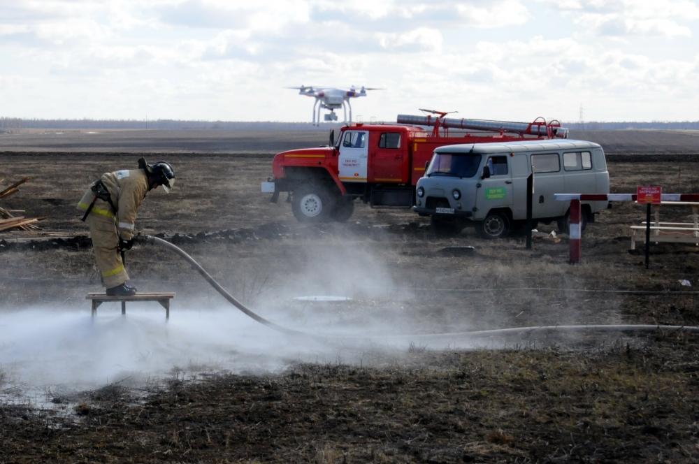 Учения по ликвидации природных пожаров в селе Константиново Рыбновского района