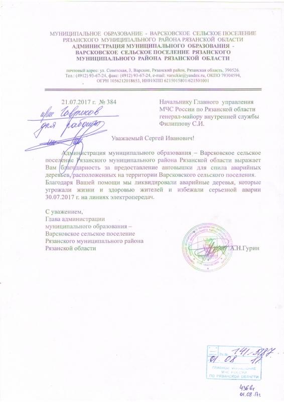Благодарность от администрации муниципального образования-Варсковское сельское поселение Рязанского муниципального района Рязанской области.