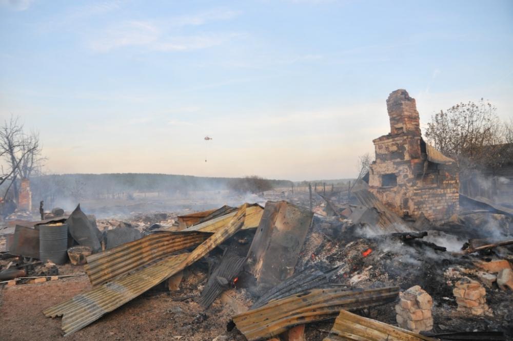Тушение пожара в поселке Сысои Сараевского района