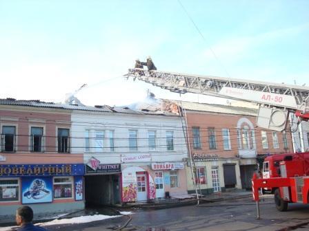 Ликвидация пожара в многоквартирном доме на улице Горького города Рязани