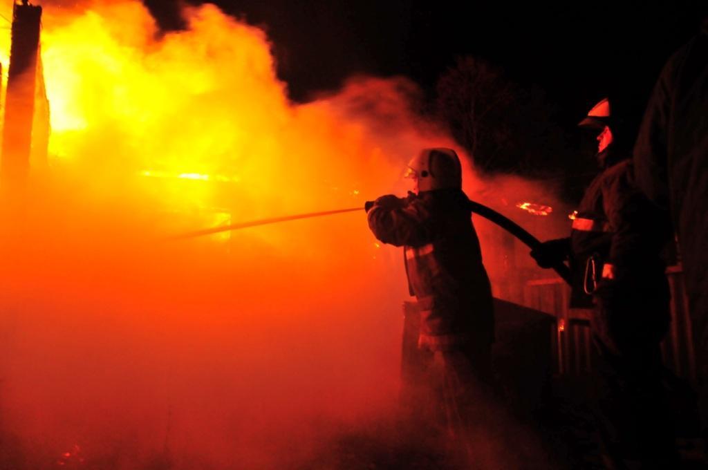 Тушение пожара в селе Ходынино