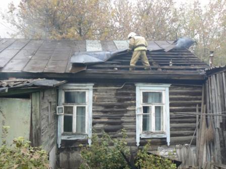 Тушение пожара на улице Трудовой в Рязани