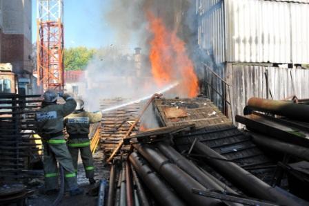 Пожар в утановке для сбора опилок