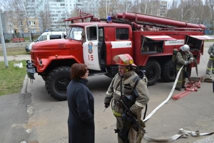 Условный пожар ликвидирован, эвакуация прошла на отлично (23.04.2017)
