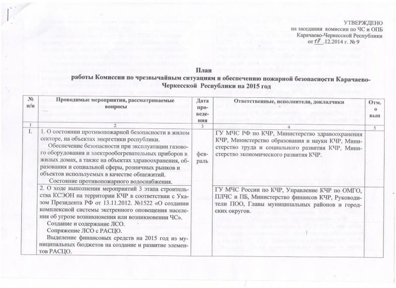 Работа Комиссии по ЧС и ПБ Карачаево-Черкесской Республики в 2015 году