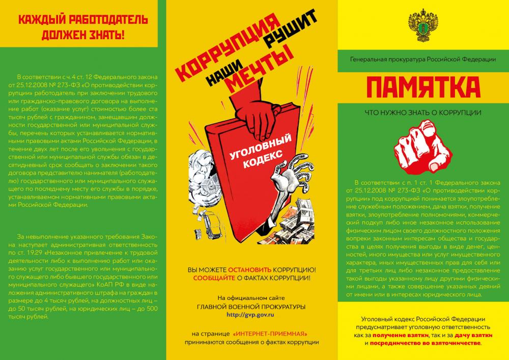 Памятки по противодействию коррупции