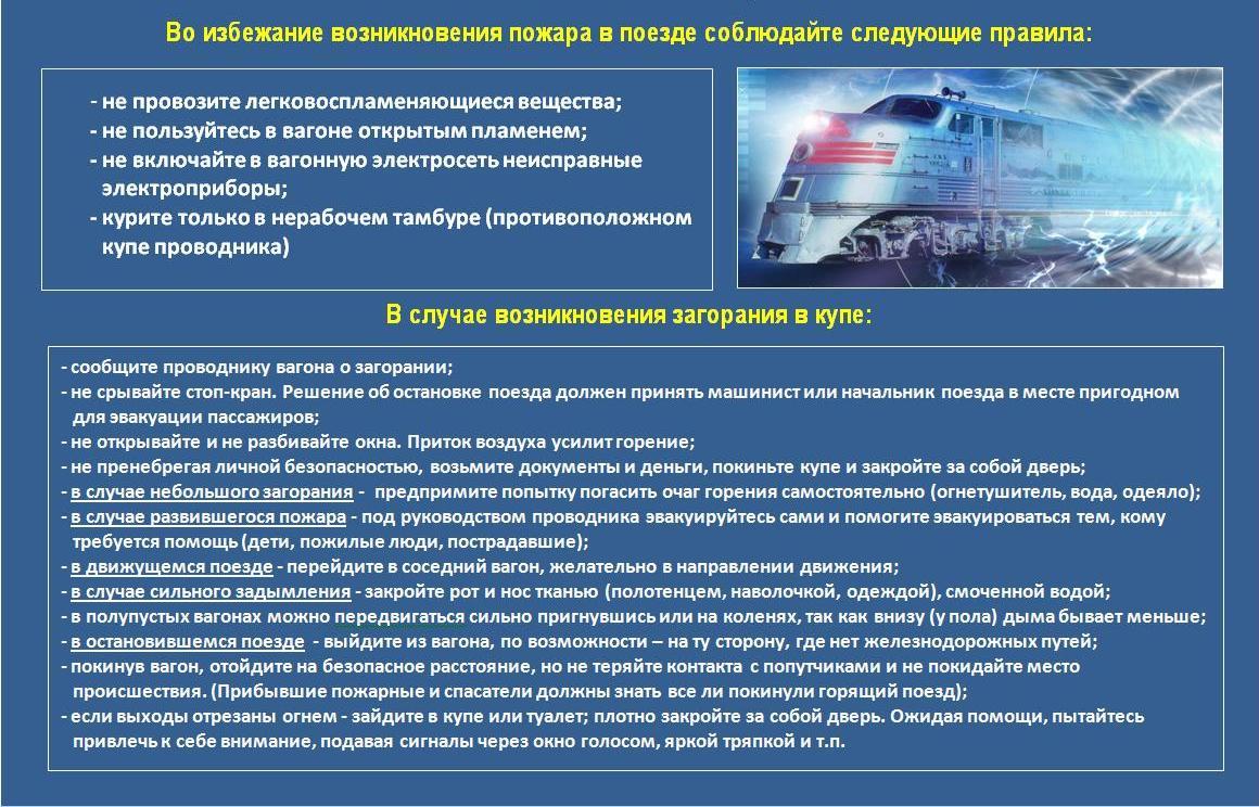 Правила пожарной безопасности в поезде