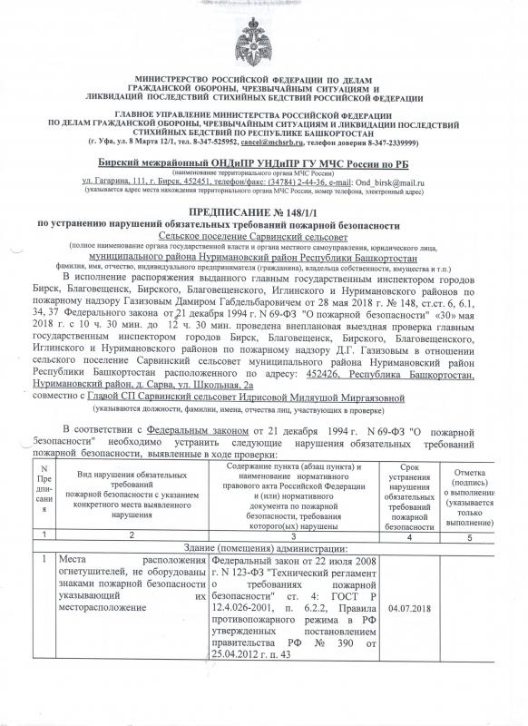 Сельское поселение Сарвинский сельсовет Нуримановского района