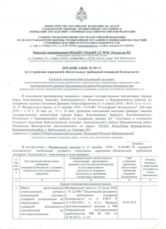Сельское поселение Байгильдинский сельсовет Нуримановского района