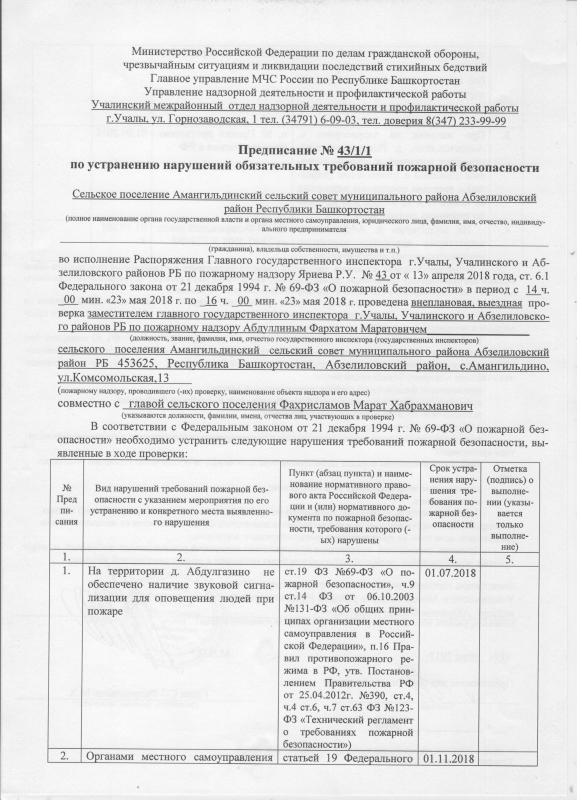 Сельское поселение Амангильдениский сельсовет Абзелиловского района