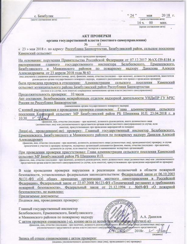 Сельское поселение Каменский сельсовет Бижбулякского района