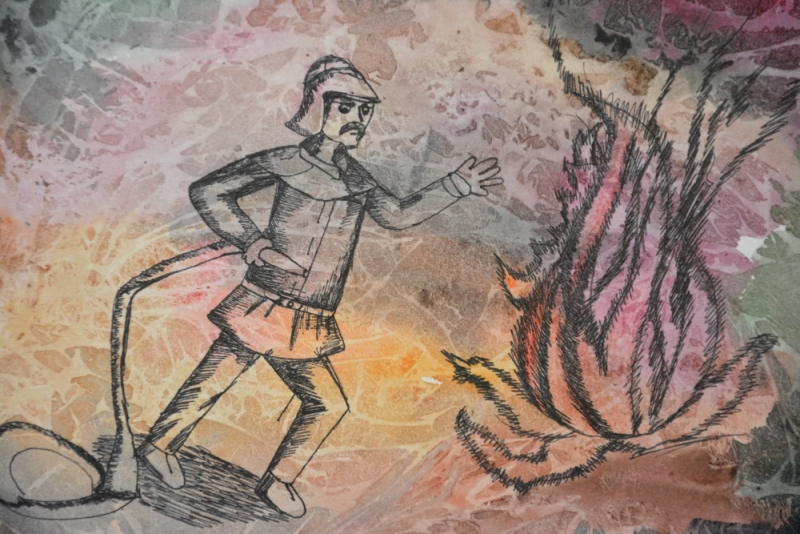 Открылась выставка рисунков и поделок, посвященная 10 - летию Первого отряда ФПС по Республике Мордовия.