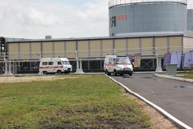 Пожарно-тактическое учение на территории Яйского нефтеперерабатывающего завода