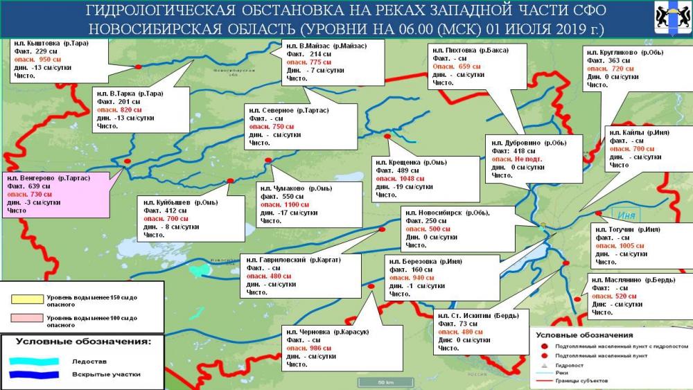 Гидрологическая обстановка на реках Новосибирской области на 02 июля 2019 года