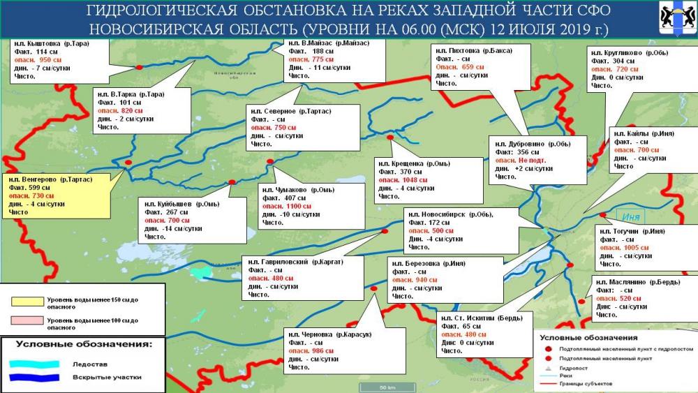 Гидрологическая обстановка на реках Новосибирской области на 13 июля 2019 года
