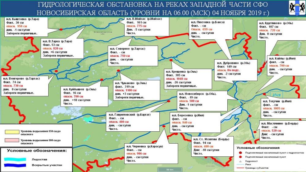 Гидрологическая обстановка на реках Новосибирской области на 05 ноября 2019 г.