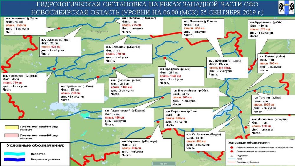 Гидрологическая обстановка на реках Новосибирской области на 26 сентября 2019 года