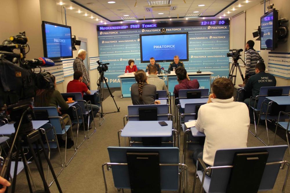 Пресс-конференции в медиацентре РИА Томск по профилактике бытовых пожаров и происшествий на водоемах