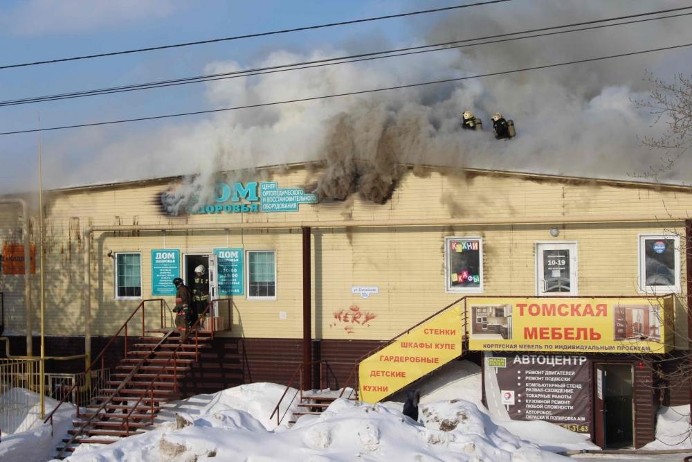 Пожар в административном здании на ул. Енисейской