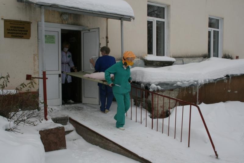Тренировка по эвакуации в корпусе Северской клинической больницы. (14 ноября 2018 года)
