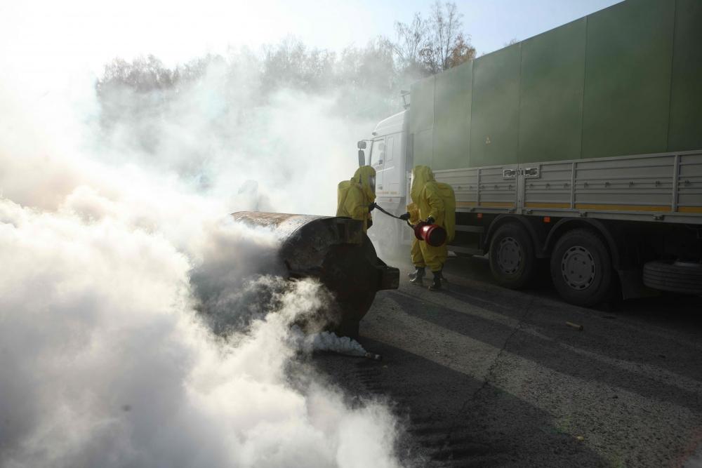 Учения по ликвидации условной чрезвычайной ситуации, связанной с выбросом радиоактивных веществ на контрольно-пропускном пункте Сублиматного завода АО «СХК» (2 октября 2019 года)