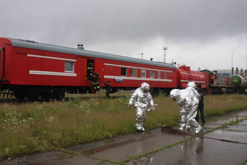 Пожарно-тактические учения на территории ООО «Томск-терминал»