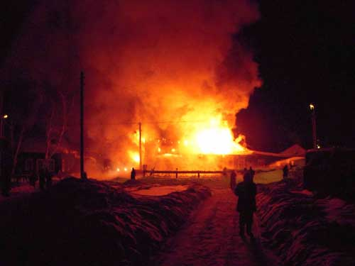 Пожар на ул. Ангарской, 1