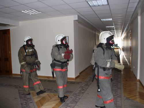 Пожарно-тактические учения в Администрации Томской области