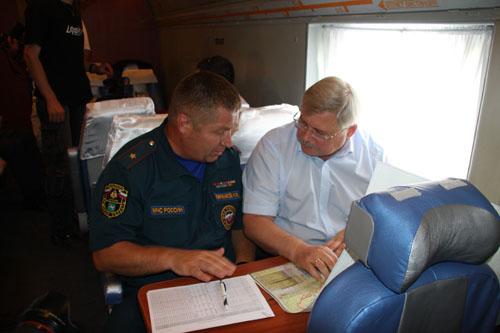 Облет территории с губернатором Томской области С.А. Жвачкиным