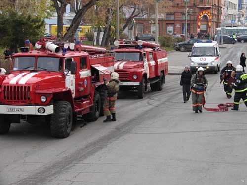 Пожарно-тактические учения в ТЮЗе