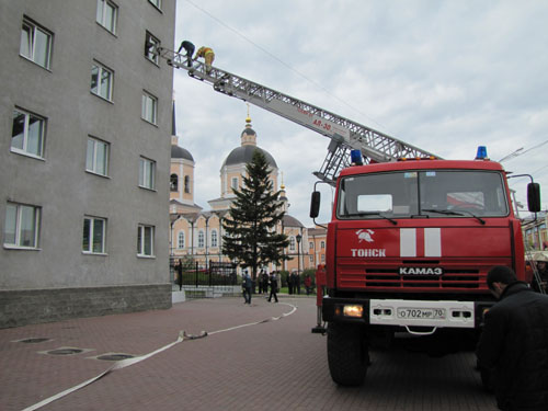 Пожарно-тактические учения в Томском драматическом театре