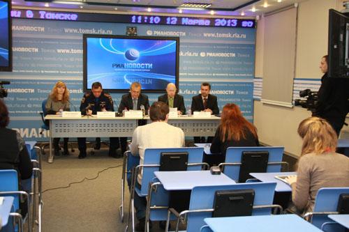 Пресс-конференция в медиацентре РИА Новости по подготовке к пропуску паводковых вод