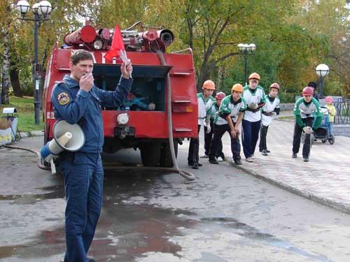 Соревнования по пожарно-спасательному спорту среди детей.
