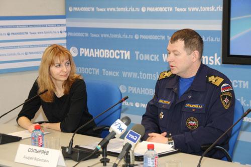 Пресс-конференция в медиацентре РИА Новости по обеспечению безопасности на водоемах Томской области в весенний период