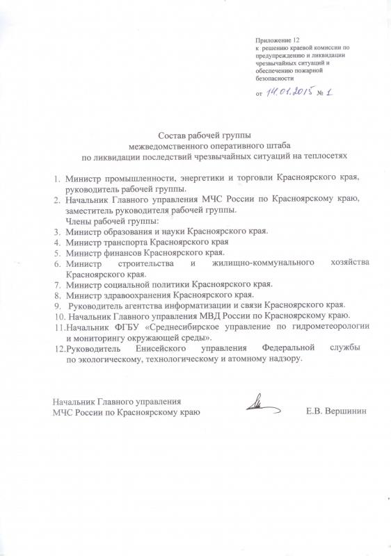 Решение № 1 об утверждении рабочих групп межведомственного оперативного штаба