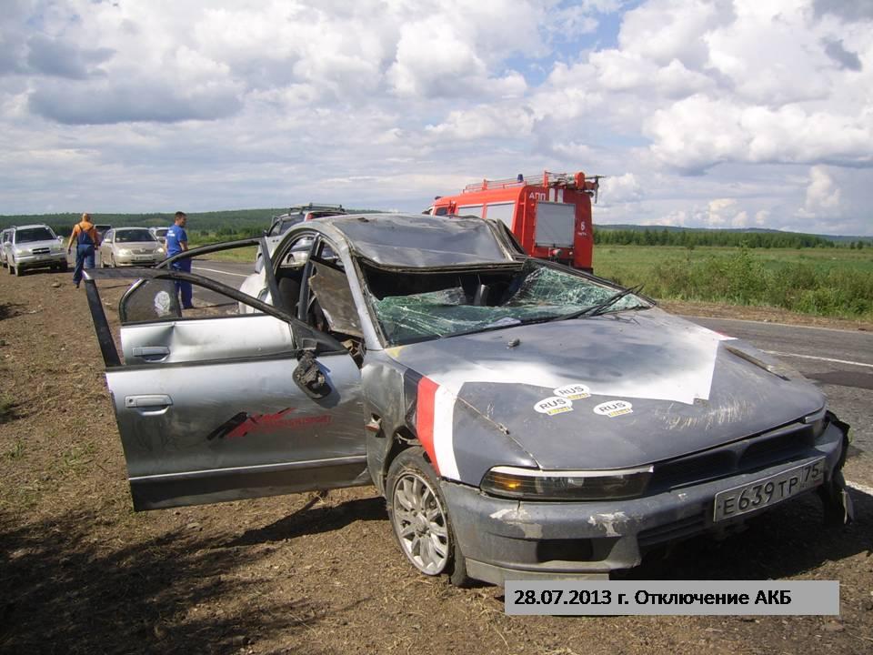 Водитель автомобиля «Мицубиси Галант» не справился с управлением и допустил опрокидывание