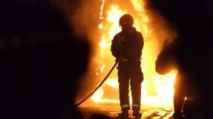 Пожар строительного вагончика в городе Чита