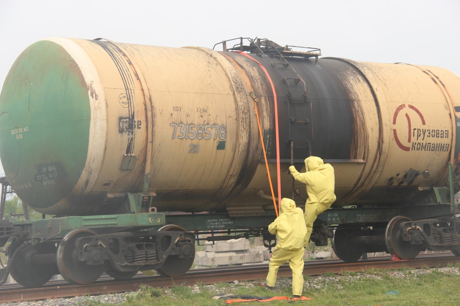 Тренировка по ликвидации ЧС на железной дороге, связанной с выбросом АХОВ