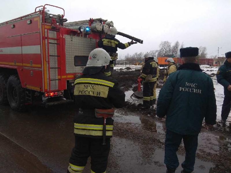 Пожарно-тактические учения в помещении котельной