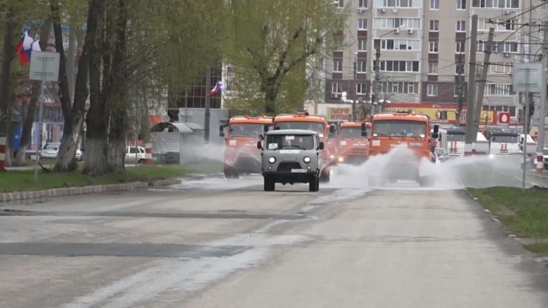 Сотрудники МЧС принимают активное участие в дезинфекции территории города Ульяновска
