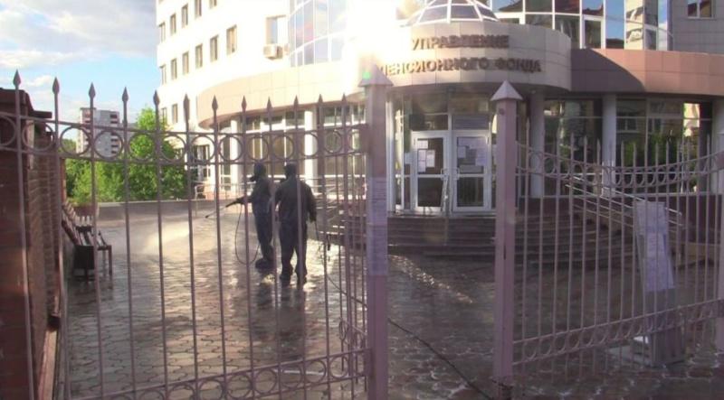 Спецзвено Главного управления провело дезинфекцию здания Пенсионного фонда