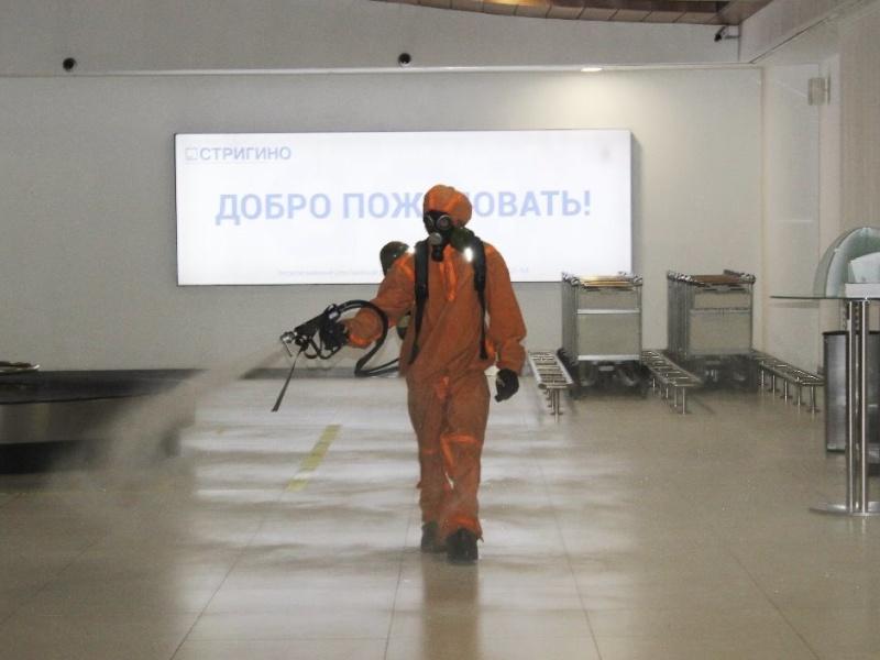 Сотрудники МЧС провели дезинфекцию Международного аэропорта Нижнего  Новгорода имени  В.П. Чкалова