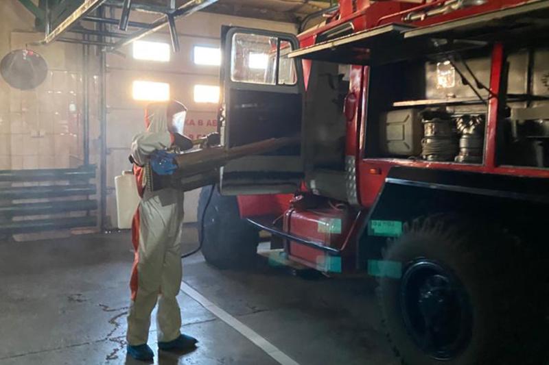 В пожарных частях Якутска проводится дезинфекция помещений