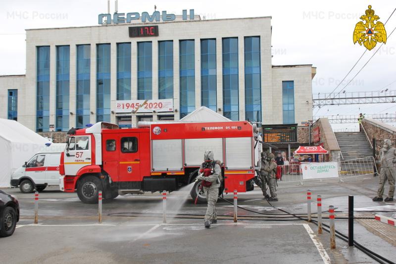 На вокзале Пермь-2 проведена дезинфекция