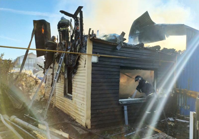 Пожарные эвакуировали три газовых баллона при тушении возгорания в частных домах (фото,видео)