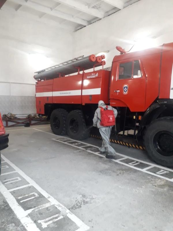 Дезинфекция в пожарных частях продолжается