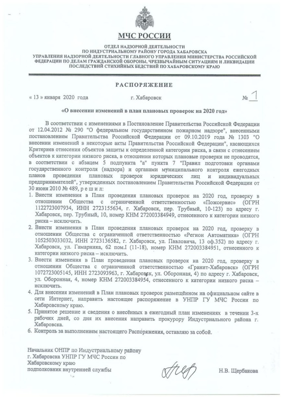 Распоряжение ОНПР по Индустриальному району г. Хабаровск от 13.01.2020 № 1