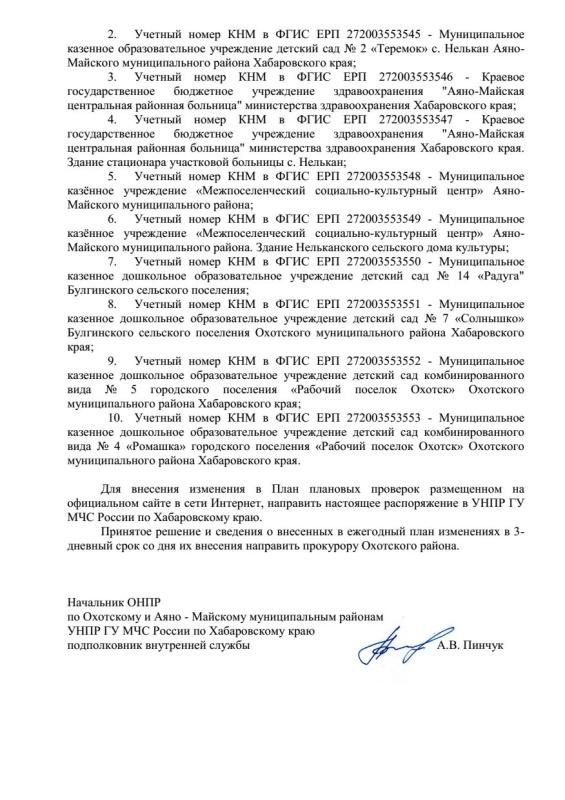 Распоряжение ОНПР по Охотскому и Аяно-Майскому муниципальным районам от 21.04.2020 № 9